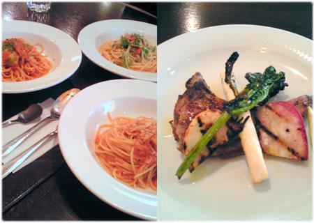 パスタと肉料理